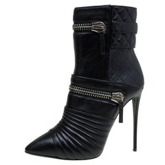 Giuseppe Zanotti Black Quilted Leather Olinda Zipper Detail Ankle Boots Size 40