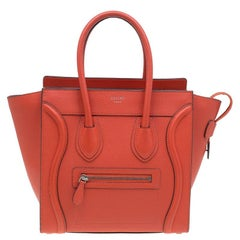 Celine Orange Leather Micro Luggage Tote