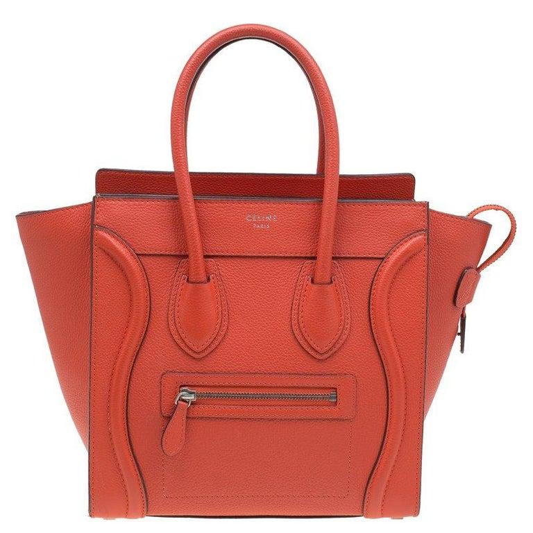 Celine Orange Leather Micro Luggage Tote For