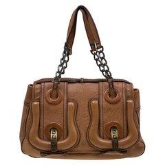 Fendi Brown Leather Trim B Tote