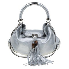 Gucci Silver Leather Large Indy Top Handle Hobo Bag