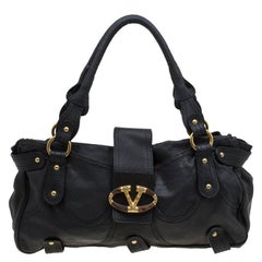 Valentino Black Leather and Crystal Catch Satchel