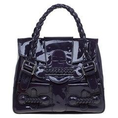 Valentino Purple Patent Leather Histoire Satchel