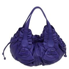 Valentino Purple Leather Ruffle Idylle Hobo