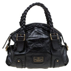 Valentino Black Glaze Leather Braided Handle Dome Satchel