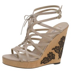 Valentino Beige Leather Lace Up Lace Embellished Wedge Sandals Size 41