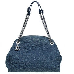 Chanel Blue Camellia Embroidered Denim Large Just Mademoiselle Bowling Bag