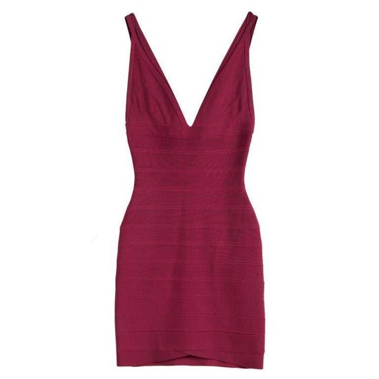 Women's Herve Leger Rouge Pink V-Neck Sleeveless Bandage Dress XS For Sale