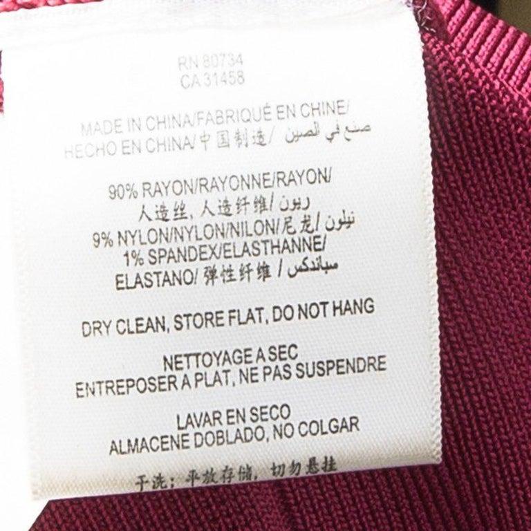 Herve Leger Rouge Pink V-Neck Sleeveless Bandage Dress XS For Sale 1