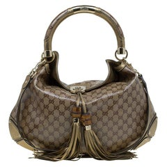 Gucci Bronze GG Crystal Coated Canvas Large Indy Hobo