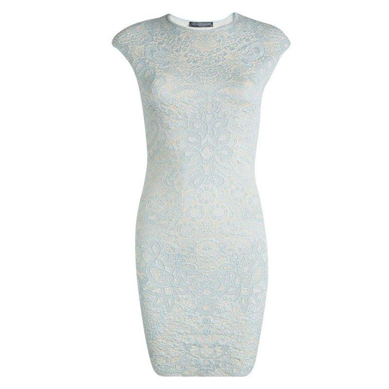 8ec73096758 Alexander McQueen Powder Blue Floral Jacquard Knit Sleeveless Dress XS at  1stdibs
