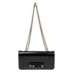 Valentino Black Patent Leather Rockstud Va Va Voom Shoulder Bag