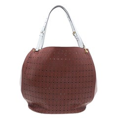 Tod's Brown Two Tone Perforated Leather Signature Secchiello Traforo Tote + Clut