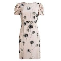 Valentino Pastel Pink Floral Printed Silk Short Sleeve Dress S
