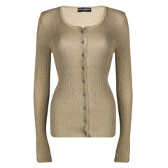Dolce And Gabbana Beige Lurex Knit Embellished Button Cardigan M