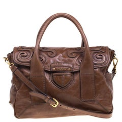 Prada Brown Glazed Leather Top Handle Bag