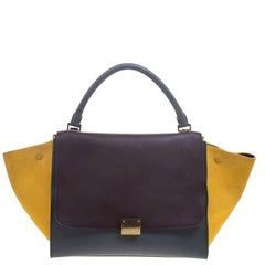 Celine Tricolor Leather and Suede Medium Trapeze Tote