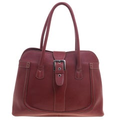 Tod's Red Leather Buckle Satchel