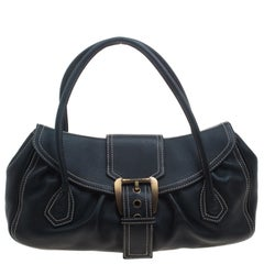 Celine Black Leather Buckle Satchel