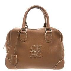 Carolina Herrera Tan Brown Leather Satchel