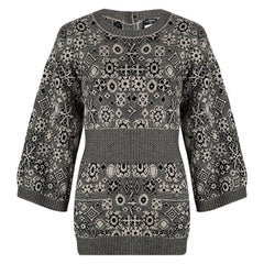 Chanel Beige and Black Cashmere Sweater Tunic M
