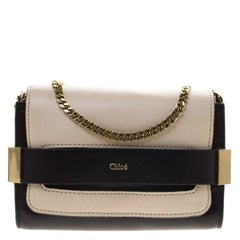Chloe Off White/Black Leather Elle Chain Clutch