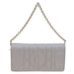 Dior Grey Quilted Cannage Leather Gaufre Delices Convertible Wallet