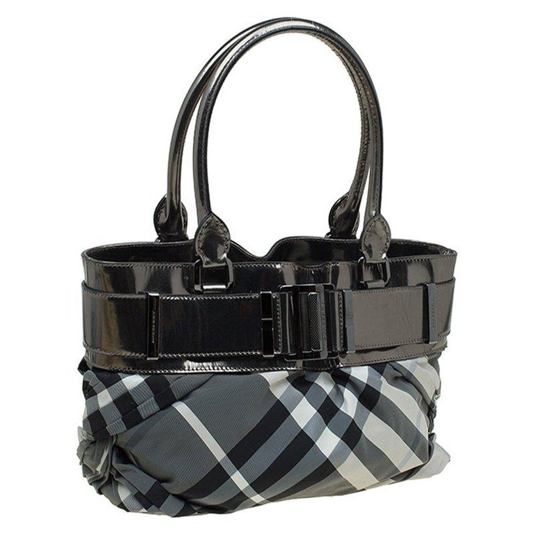 e1438821dfa0 Burberry Metallic Grey Beat Check Nylon and Leather Small Healy Tote For  Sale 6