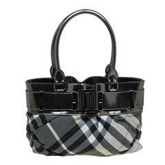 Burberry Metallic Grey Beat Check Nylon and Leather Small Healy Tote