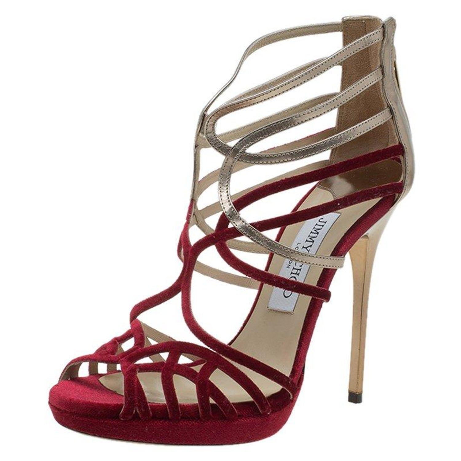 02b4b2d1886e Jimmy Choo Red Velvet and Gold Leather Maury Strappy Sandals Size 37 at  1stdibs