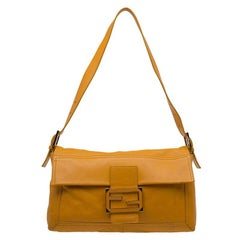 Fendi Tan Leather Large Convertible Baguette Shoulder Bag