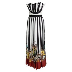 Dsquared2 Tribal Couture Printed Striped Silk Strapless Maxi Dress S