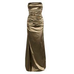Dolce and Gabbana Brown Ruched Satin Strapless Gown S