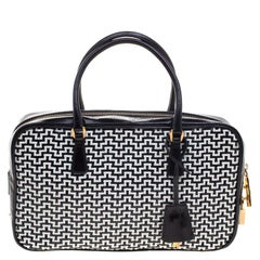 Prada Black/White Woven Leather Bowler Bag