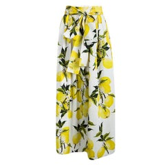 Dolce and Gabbana Lemon Printed Cotton Gathered Belted Maxi Skirt L