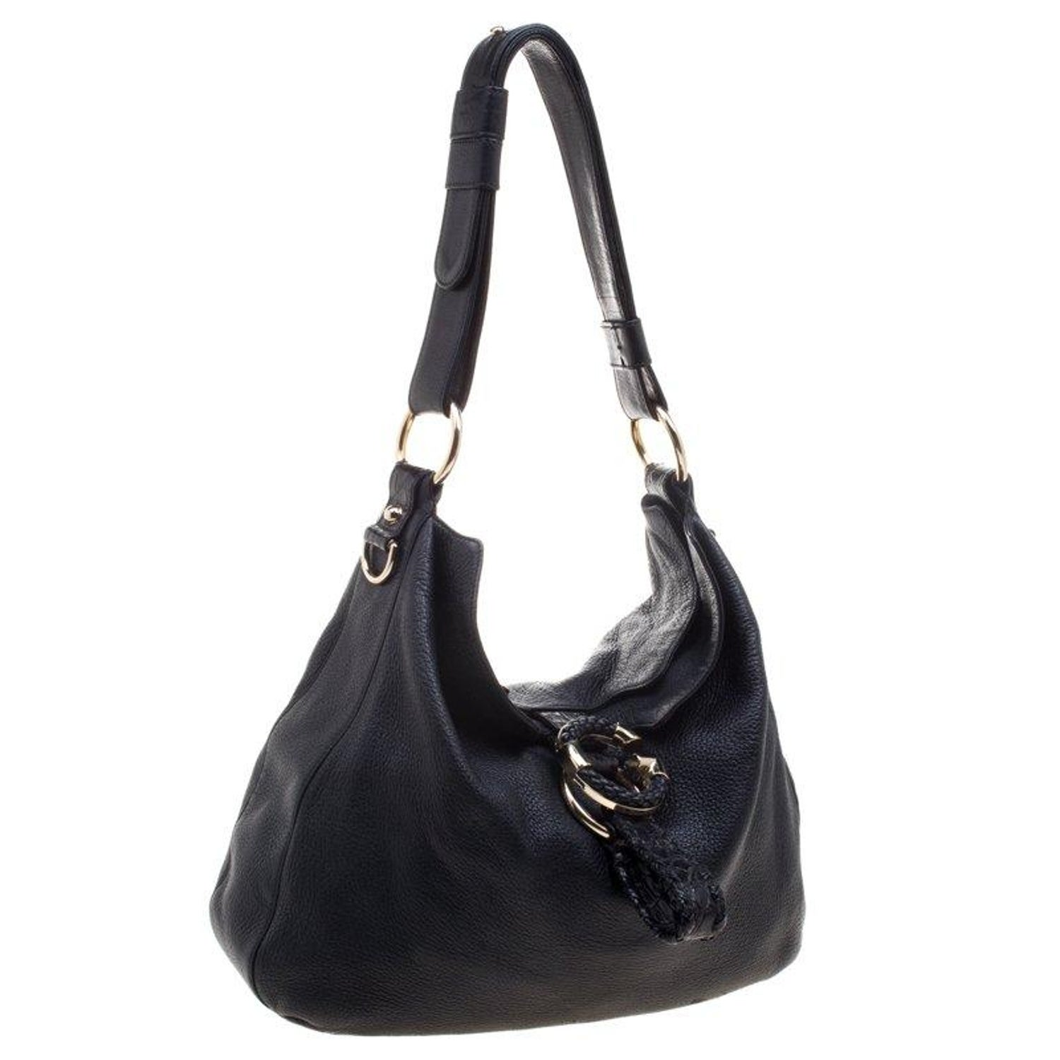 138eb004b627a8 Gucci Black Pebbled Leather Large Wave Hobo at 1stdibs