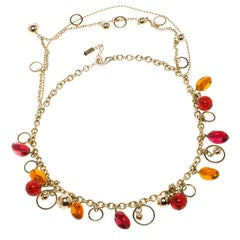 Versace Multicolor Crystal Gold Tone Necklace