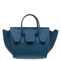 Celine Teal Blue Leather Small Tie Tote