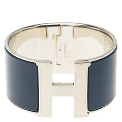 Hermes Clic H Extra Wide Blue Enamel Palladium Plated White Lacquered H Bracelet