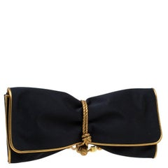 Gucci Black/Gold Satin Malika Evening Clutch