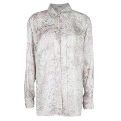 Chanel Multicolor Floral Printed Silk Long Sleeve Blouse L