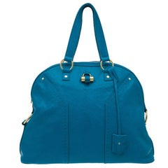 Saint Laurent Paris Turquoise Blue Leather Oversize Muse Tote