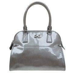 Salvatore Ferragamo Silver Patent Leather Satchel Bag