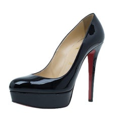 Christian Louboutin Black Patent Bianca Platform Pumps Size 38.5