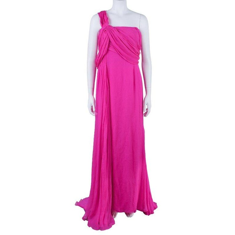 Oscar De La Renta Hot Pink Chiffon Belted Gown L In Excellent Condition For Sale In Dubai, AE