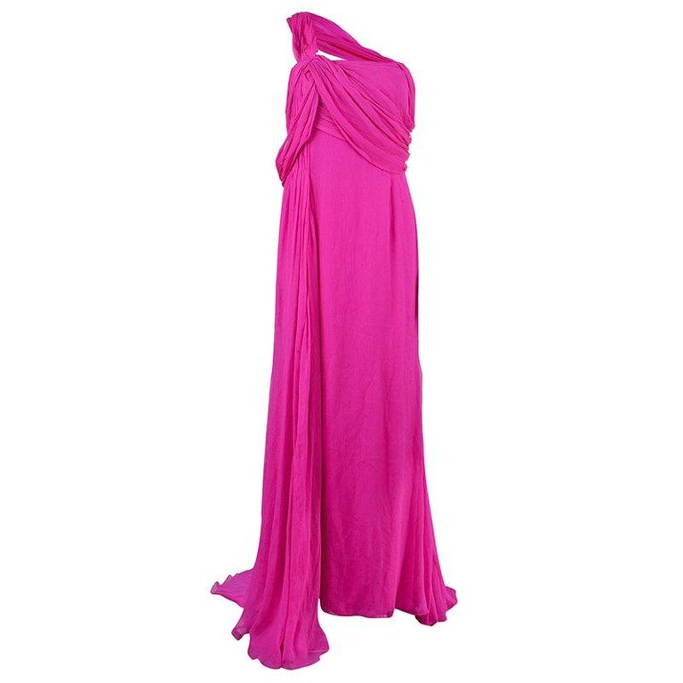 Oscar De La Renta Hot Pink Chiffon Belted Gown L For Sale