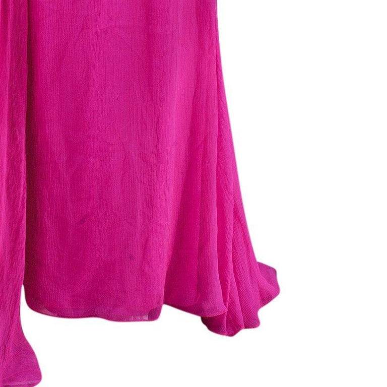 Oscar De La Renta Hot Pink Chiffon Belted Gown L For Sale 1