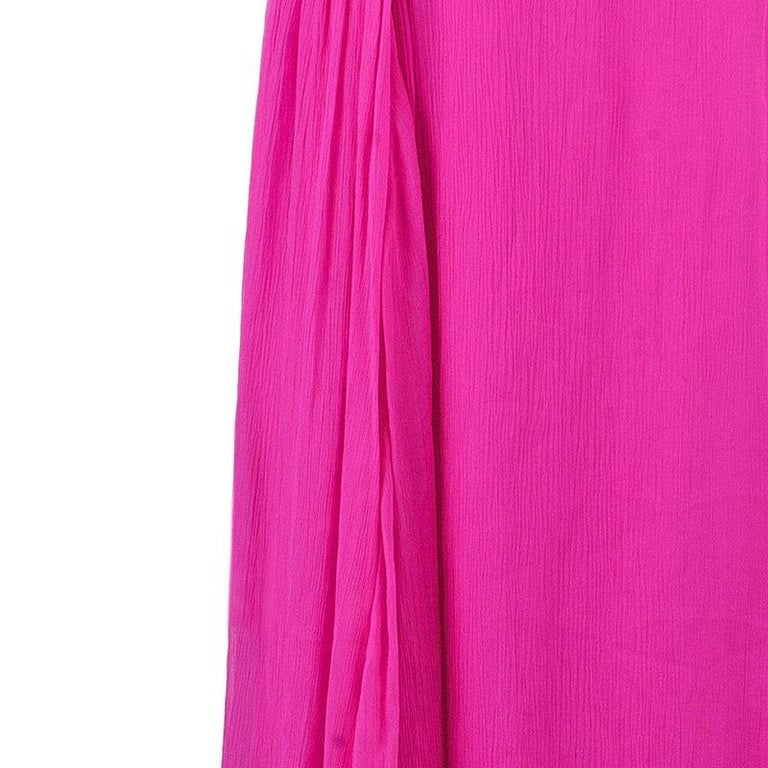 Oscar De La Renta Hot Pink Chiffon Belted Gown L For Sale 2
