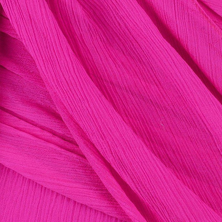 Oscar De La Renta Hot Pink Chiffon Belted Gown L For Sale 3