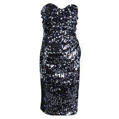 Dolce and Gabbana Silver Sequin Paillette Embellished Ruched Strapless Dress M